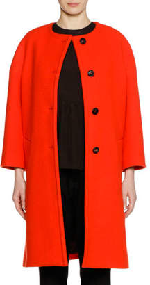 Marni Long-Sleeve Felted Wool Button-Front Knee-Length Coat