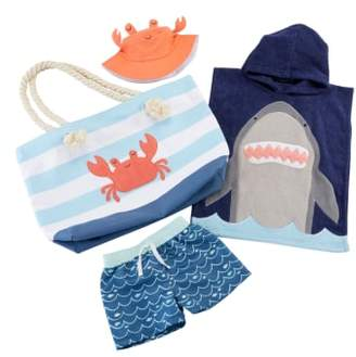 Baby Aspen Shark Hooded Towel, Swim Trunks, Sun Hat & Tote Set