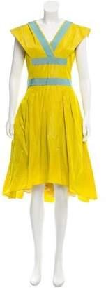 Tia Cibani Cutout-Back Taffeta Dress w/ Tags