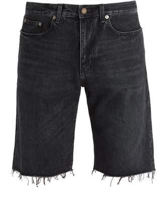 Saint Laurent Frayed-hem straight-leg denim shorts