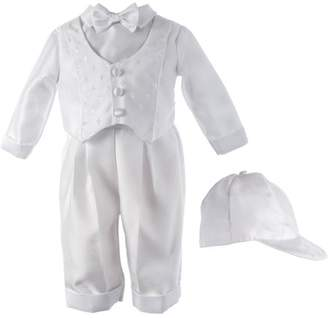 Generic Christening Baptism Newborn Baby Boy Special Occasion Shantung Long Pants With Cross Dobby Vest