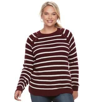 So Juniors' Plus Size SO Raglan Crewneck Sweater