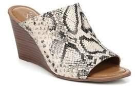 Franco Sarto Yasmina Snakeskin-Print Leather Wedge Sandals