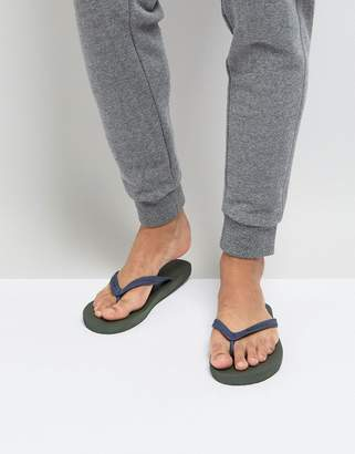 Jack Wills Steadman Flip Flops In Olive