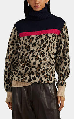 Sacai Women's Leopard-Print Wool-Blend Turtleneck Sweater - Tan Pat.