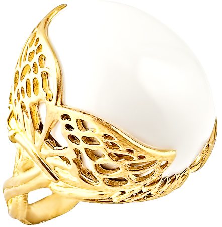 Agrigento Designs Winged White Agate Ring