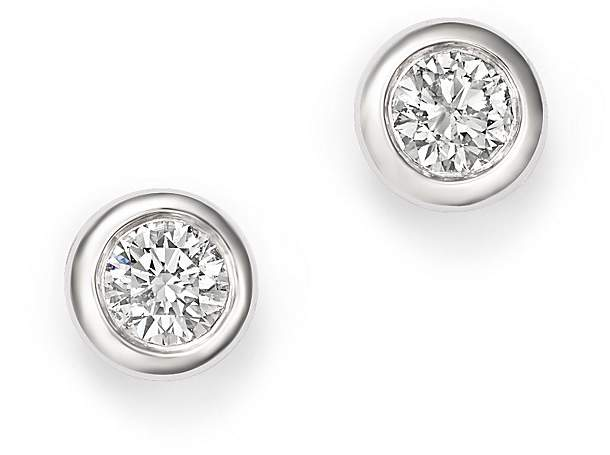 KC Designs 14K White Gold Diamond Bezel Stud Earrings