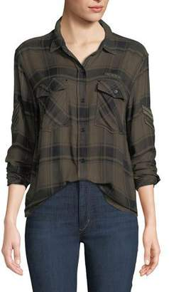 Rails Pepper Army Insignia Button-Front Long-Sleeve Plaid Shirt