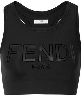 Fendi Roma Cutout Appliquéd Stretch Sports Bra - Black