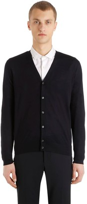 Prada Virgin Wool V Neck Cardigan