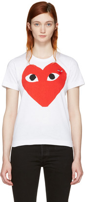 Comme des Garçons Play White Double Large Heart T-Shirt $110 thestylecure.com