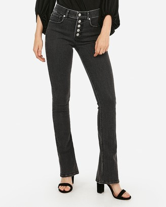 Express High Waisted Denim Perfect Black Button Fly Skyscraper Jeans