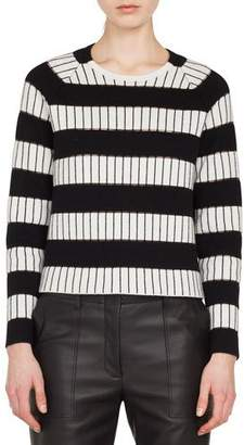 Akris Crewneck Long-Sleeve Striped-Embroidered Cashmere Sweater