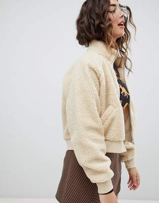 Monki Teddy Bomber Jacket