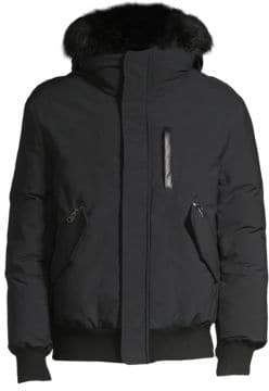 Mackage Men's Dixon Rabbit-Fur Hood Bomber Parka - Black - Size 38