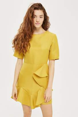 Topshop Frill front satin mini dress
