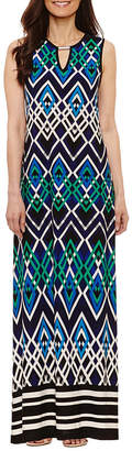 Tiana B Sleeveless Geometric Maxi Dress-Petite