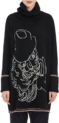 Yohji Yamamoto Women's Wool-Cotton Turtleneck Sweaterdress-BLACK $649 thestylecure.com
