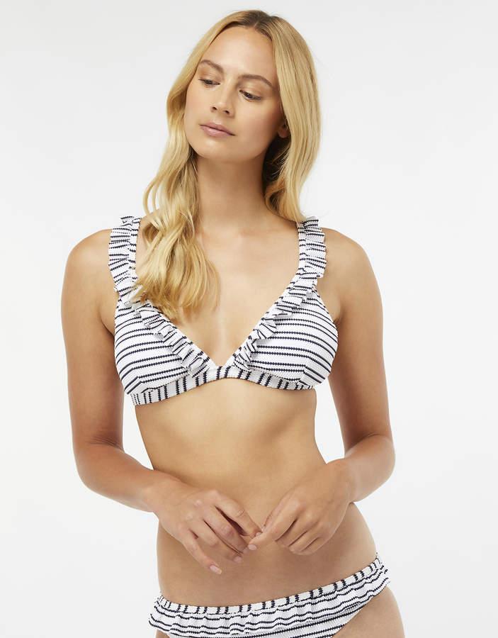 Nautical Ruffle Triangle Bikini Top