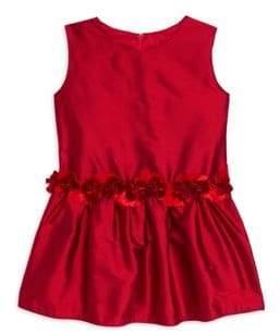 Isabel Garreton Little Girl's Roses Drop Waist Silk A-Line Dress