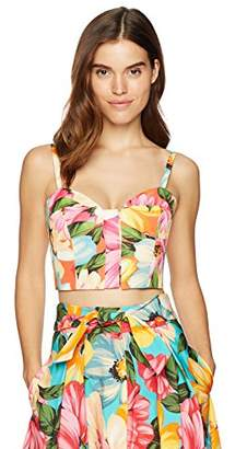 Milly Women's Floral Print On Faille Seamed Bustier