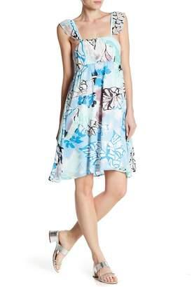 24/7 Comfort Square Neck Ruffle Strap Allover Print Dress