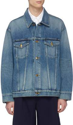 Facetasm Rib knit stripe denim jacket