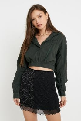 BDG Poplin Super Crop Pullover Jacket - green XS at Urban Outfitters