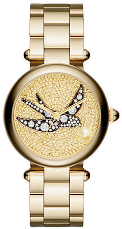 Marc Jacobs Marc Jacobs Dotty Cabochon Pearl Goldtone Stainless Steel Bracelet Watch, DTTY34IPGBRCBIRD