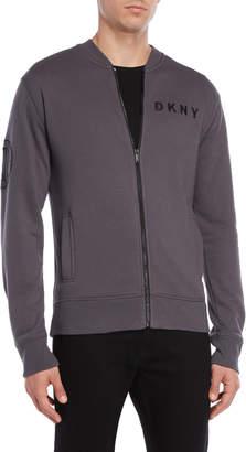 DKNY Grey Fleece Bomber Jacket