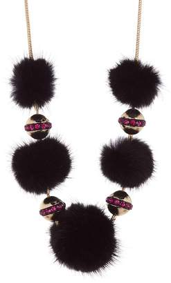 Trina Turk Genuine Mink & Rabbit Fur Pompom Necklace