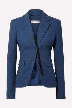 Altuzarra Salerno Grosgrain-trimmed Slub Cotton-blend Blazer - Blue