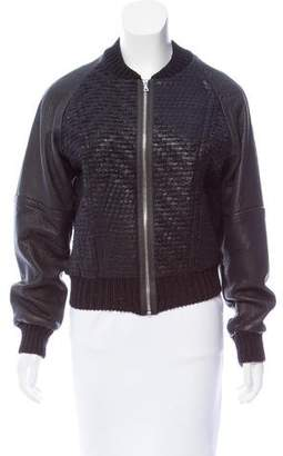 Yigal Azrouel Leather-Accented Zip-Up Jacket w/ Tags