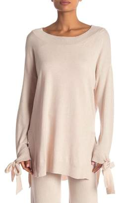 Shimera Rib Trim Tie Sleeve Hi-Lo Sweater