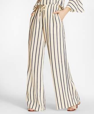 Brooks Brothers Striped Linen Palazzo Pants