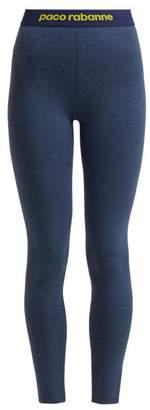 Paco Rabanne Logo Jacquard Trimmed Leggings - Womens - Dark Blue