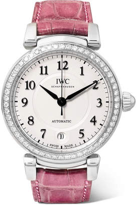 IWC SCHAFFHAUSEN - Da Vinci Automatic 36mm Stainless Steel, Alligator And Diamond Watch - Silver