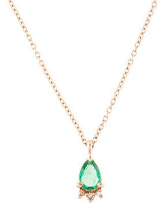 Vasa 14K Emerald & Diamond Tiara Pendant Necklace rose Vasa 14K Emerald & Diamond Tiara Pendant Necklace
