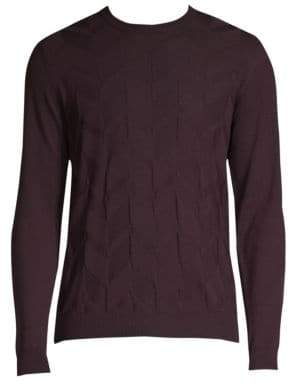 Corneliani Diamond Weave Wool Crewneck Sweater