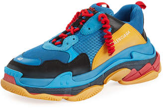 Balenciaga Men's Triple S Mesh & Leather Sneakers, Blue/Orange