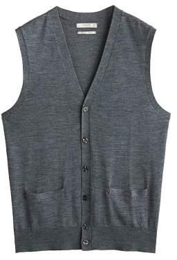 MANGO Wool-blend sleeveless cardigan