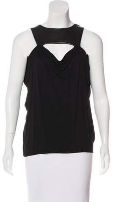 Yigal Azrouel Cut25 by Leather-Trimmed Sleeveless Top