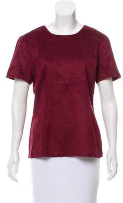 Neiman Marcus Faux Leather Short Sleeve Top w/ Tags