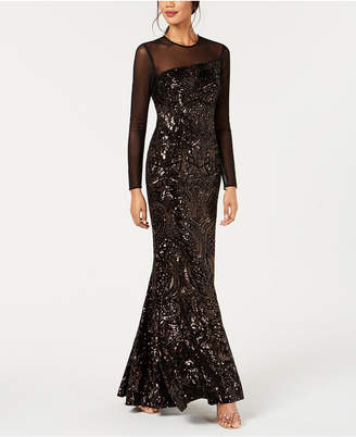 Betsy & Adam Long-Sleeve Velvet & Sequin Evening Gown