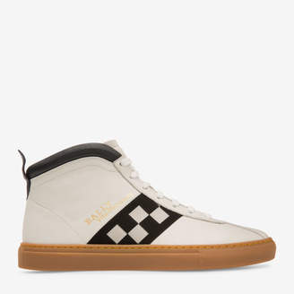Bally Vita-Parcours White, Men's nappa lamb leather high top trainer in white and blue navy