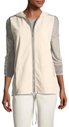 Lafayette 148 New York Francisco Vest w/Weathered Leather & Nylon Combo