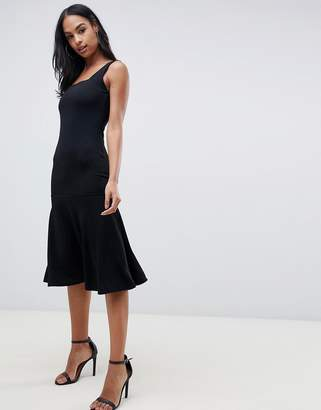 Club L London midi dress with square neck and peplum hem