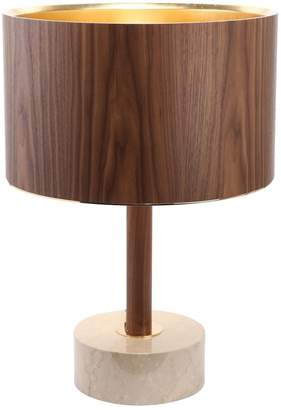 Low Marble & Walnut Wood Table Lamp