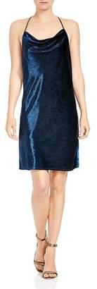 Halston Metallic Velvet Cowl-Neck Slip Dress