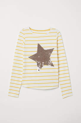 H&M Jersey Top with Motif - Yellow
